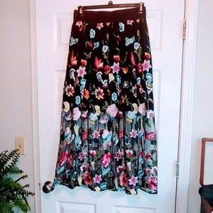 NWT Embroidered sheer maxi skirt